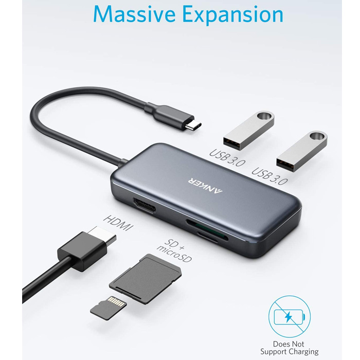 Anker 5-in-1 USB-C Hub With HDMI 4K, SD/TF